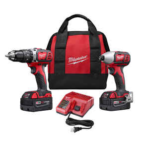 Milwaukee  M18  Cordless  Brushless 2 tool Hammer Drill and Impact Driver Kit  18 volt
