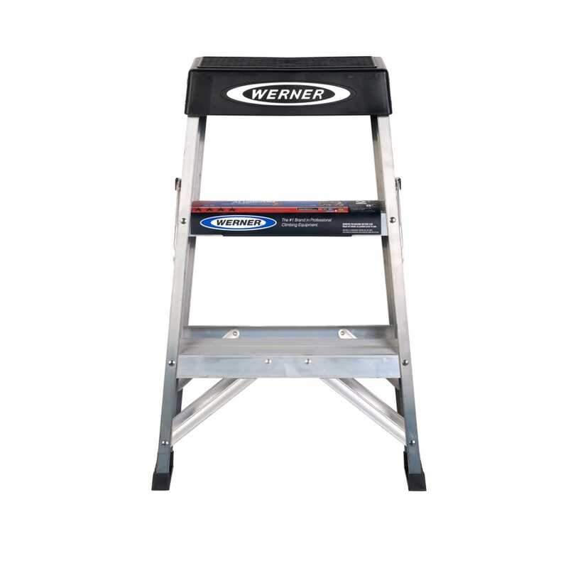 Werner  2 ft. H x 17 in. W Aluminum  Step Ladder  300 lb. Type IA