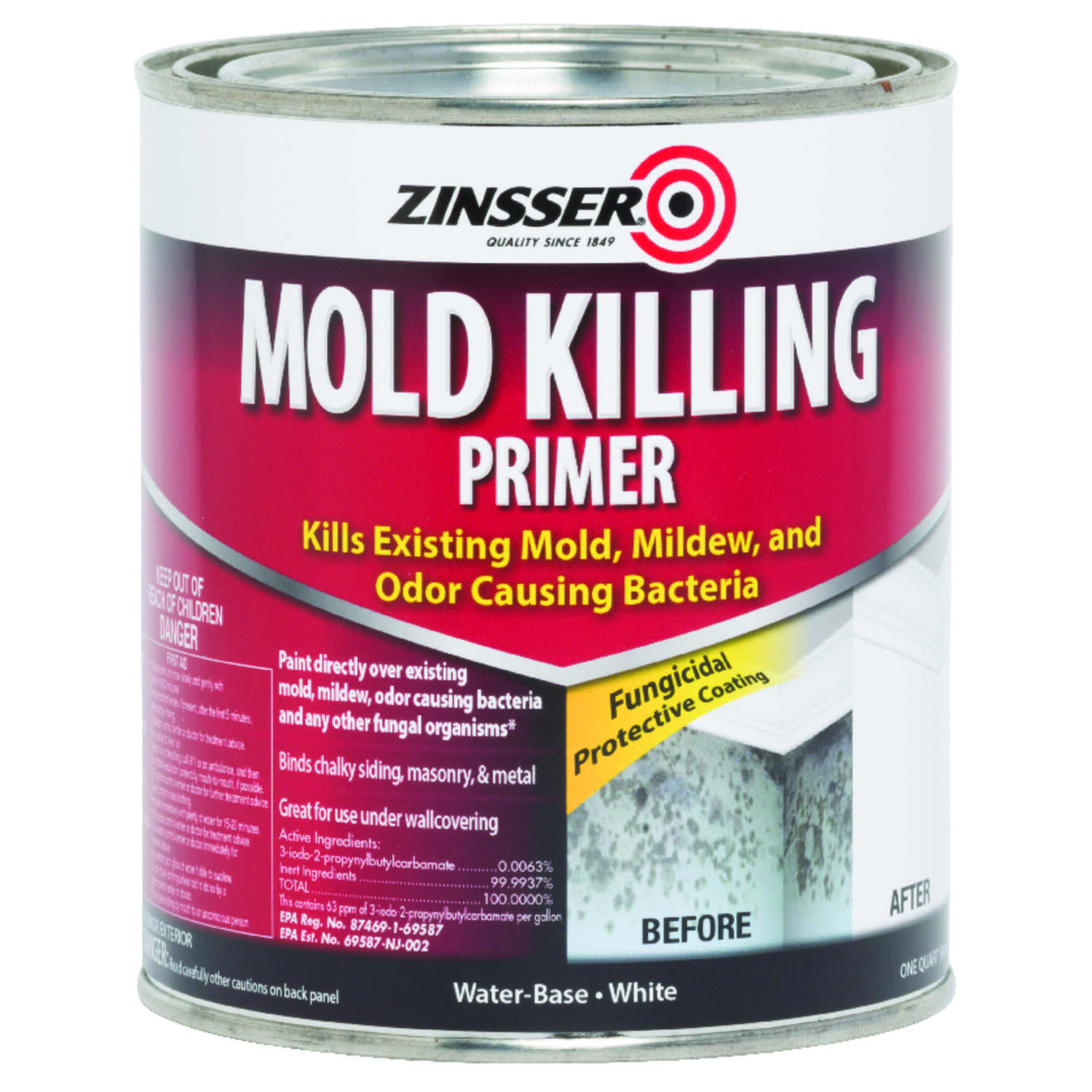 Zinsser  Mold Killing Primer  For All Surfaces 1 qt. White
