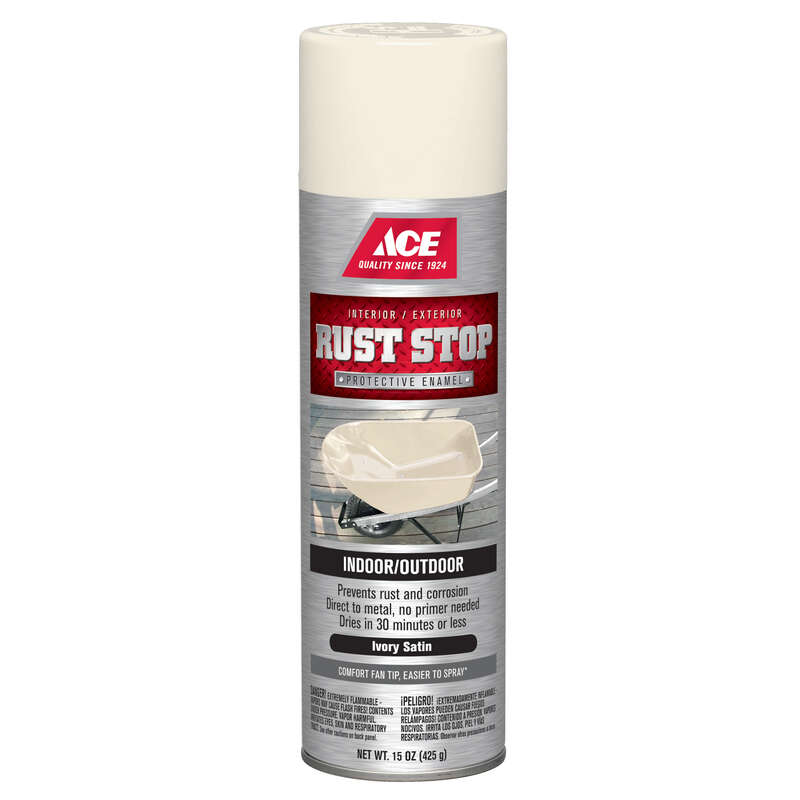 Ace  Rust Stop  Satin  Ivory  15 oz. Spray Paint