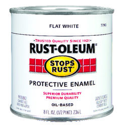Rust-Oleum Stops Rust Indoor and Outdoor Flat White Oil-Based Protective Paint 0.5 pt.