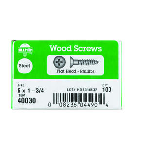 Hillman  No. 6   x 1-3/4 in. L Phillips  Flat Head Zinc-Plated  Steel  Wood Screws  100 pk