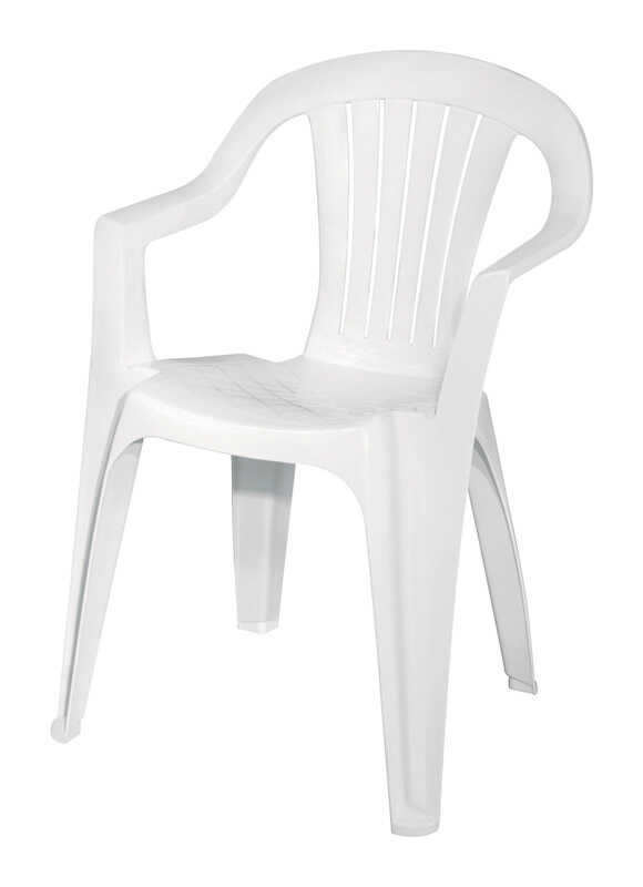 Adams  White  Polypropylene  Stackable  Chair