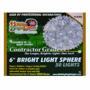 Holiday Bright Lights  Incandescent  Contractor  Sphere Light  Clear  12 ft. 50 lights
