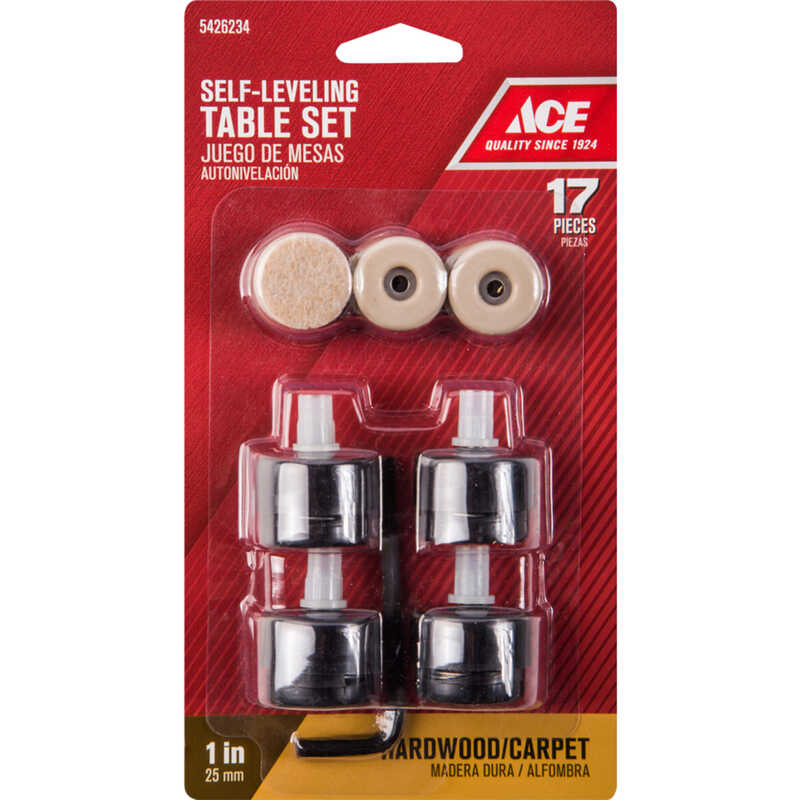 Ace  Plastic  Self Leveling Table Pad Set  Black  Round  1 in. W 17 pk