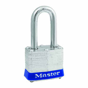 Master Lock  1-5/16 in. H x 1-1/2 in. W x 1-9/16 in. L Laminated Steel  4-Pin Cylinder  Padlock  Key