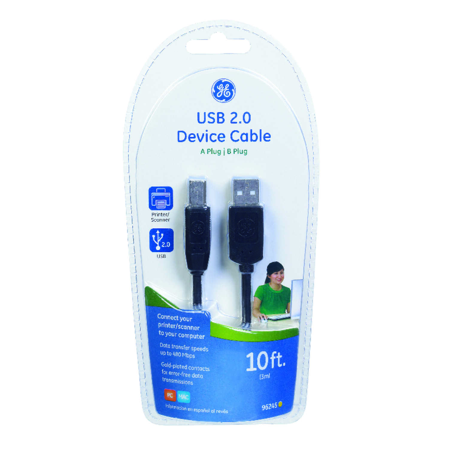 GE  10 ft. L USB Device Cable