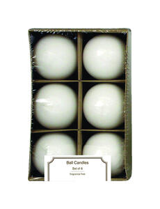 Langley Empire  White  No Scent Ball  Candle  2.5 in. H x 2.25 in. Dia.