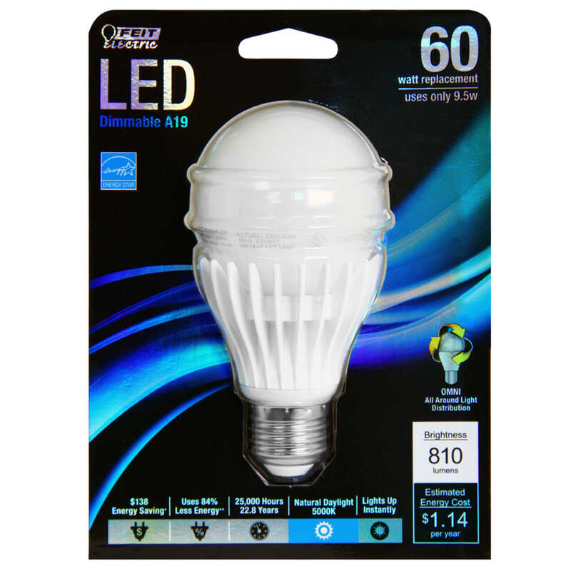 FEIT Electric  Omni Directional  9.5 watts A19  LED Bulb  810 lumens A-Shape  60 Watt Equivalence Da