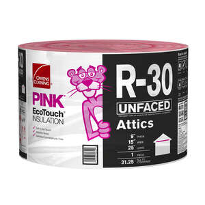 Owens Corning  15 in. W x 300  L 30  Unfaced  Insulation  Roll  31.25 sq. ft.