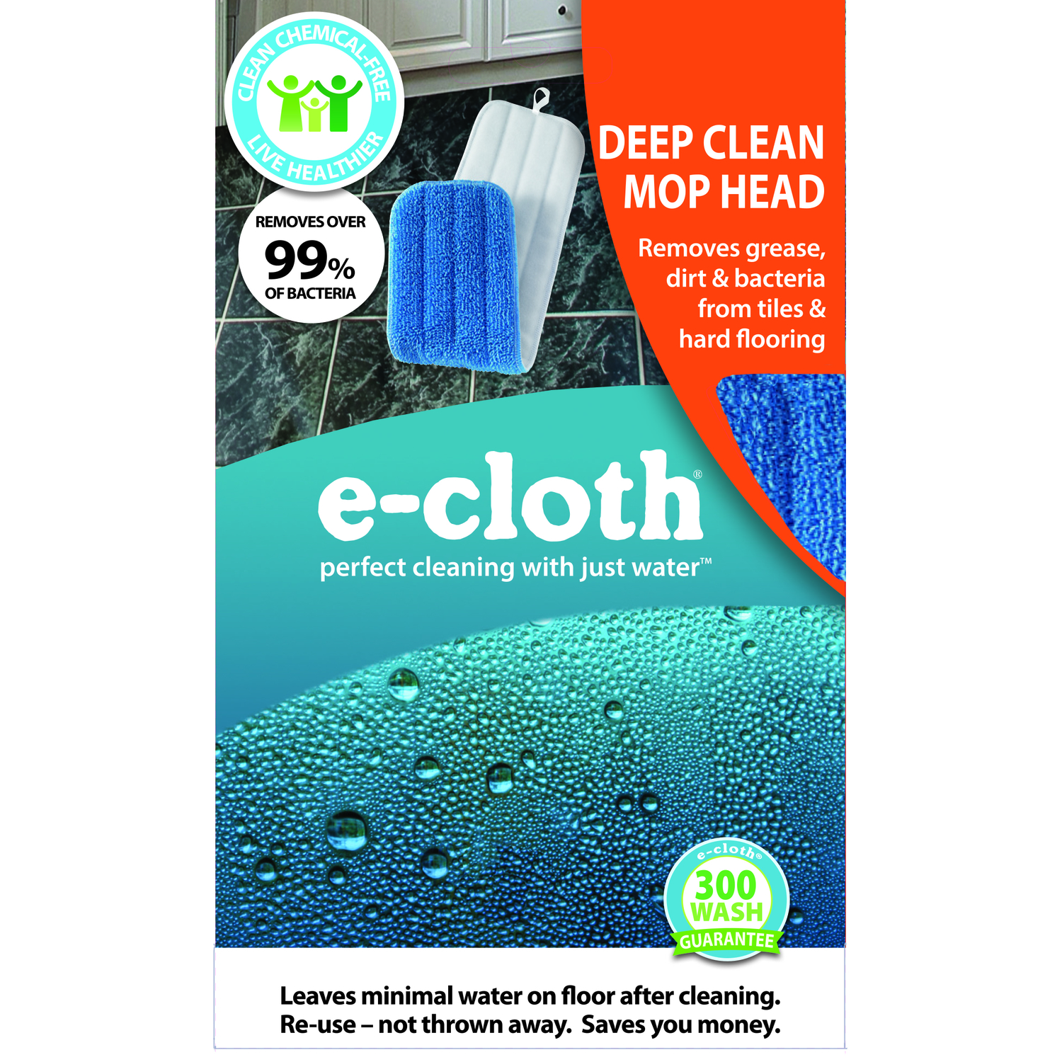 E-Cloth  Damp  5.25 in. W x 18 in. L Polyester Blend  1 pk Mop Refill