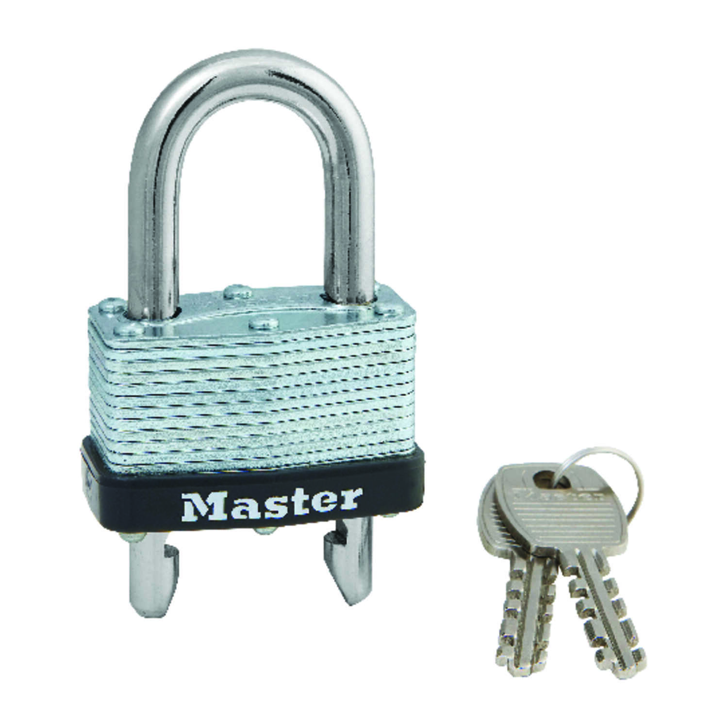 Master Lock  1-3/32 in. H x 1-1/32 in. W x 1-3/4 in. L Laminated Steel  Warded Locking  Padlock  1 e