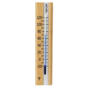 Taylor  Tube Thermometer  Wood  Brown