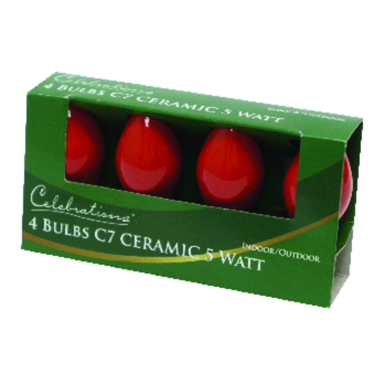 Celebrations  Incandescent  Ceramic C7  Replacement Bulb  Red  4 pk