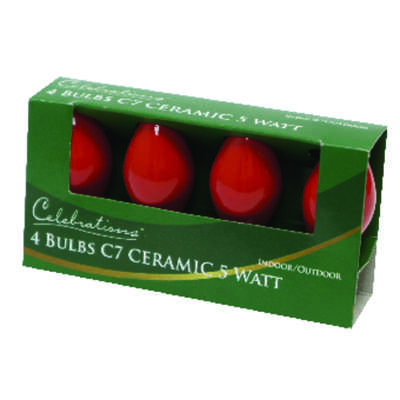Celebrations  Ceramic C7  Incandescent  Replacement Bulb  Red  4 lights