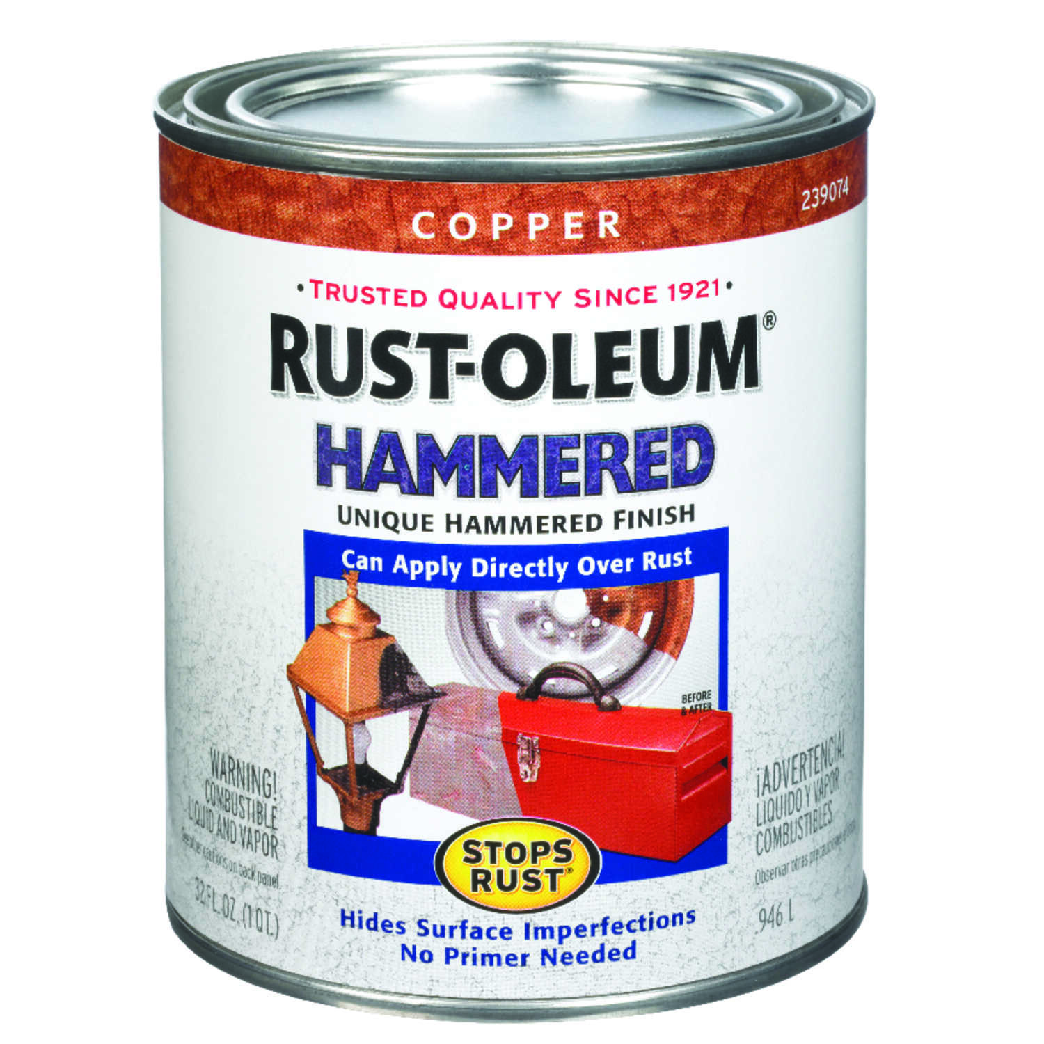 Rust-Oleum  Stops Rust  Indoor and Outdoor  Hammered  Copper  Protective Enamel  1 qt.