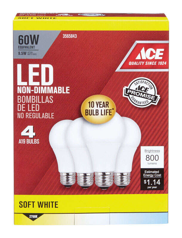 Ace  9.5W watts A19  LED Bulb  800 lumens Soft White  A-Line  60 Watt Equivalence