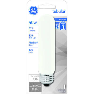 GE  40 watts T10  Tubular  Incandescent Bulb  E26 (Medium)  Warm White  1 pk