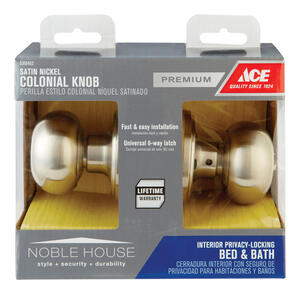 Ace  Colonial  Satin Nickel  Privacy Lockset  ANSI/BHMA Grade 3  1-3/4 in.