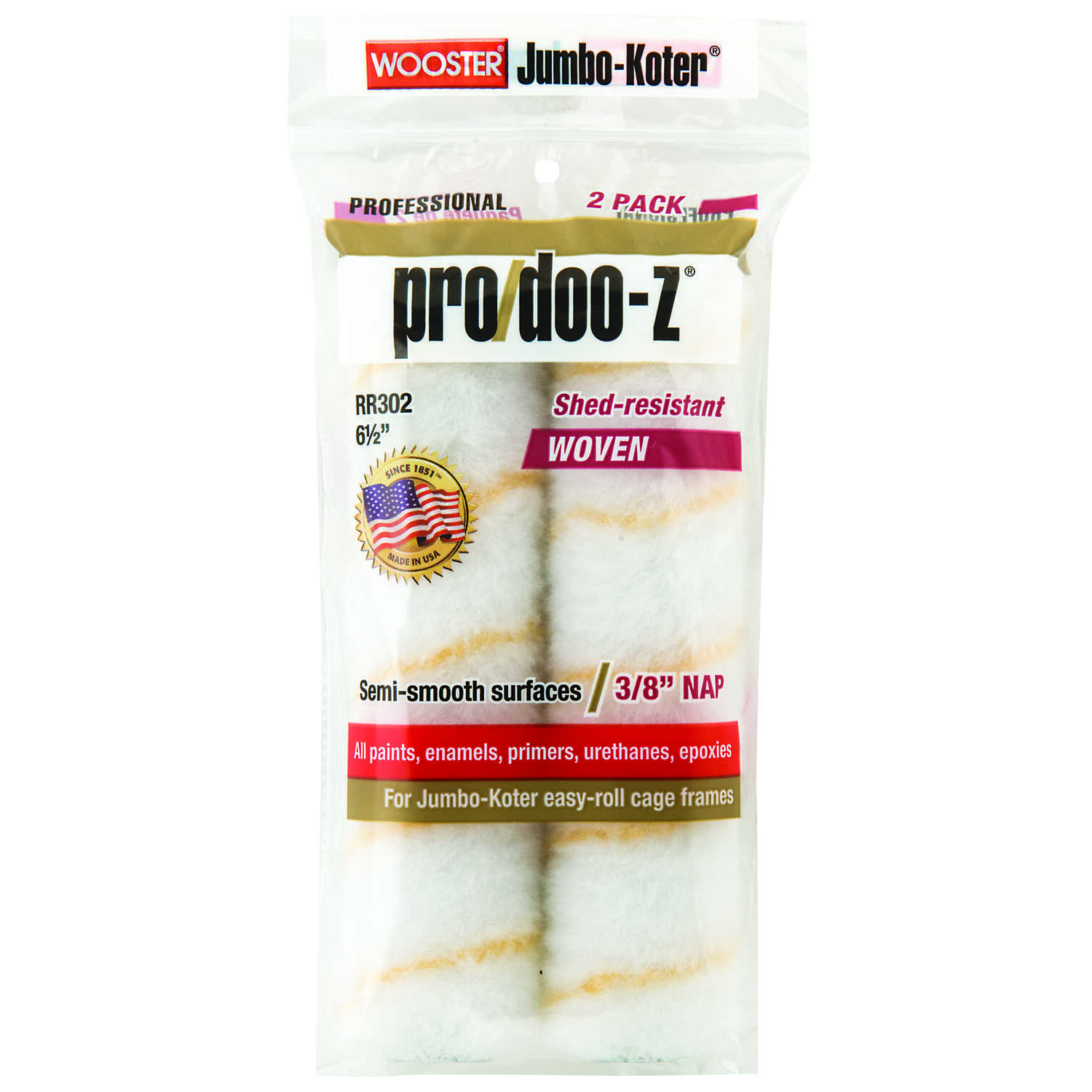 Wooster  Pro/Doo-Z  Fabric  3/8 in.  x 6-1/2 in. W Paint Roller Cover  For Smooth Surfaces 2 pk
