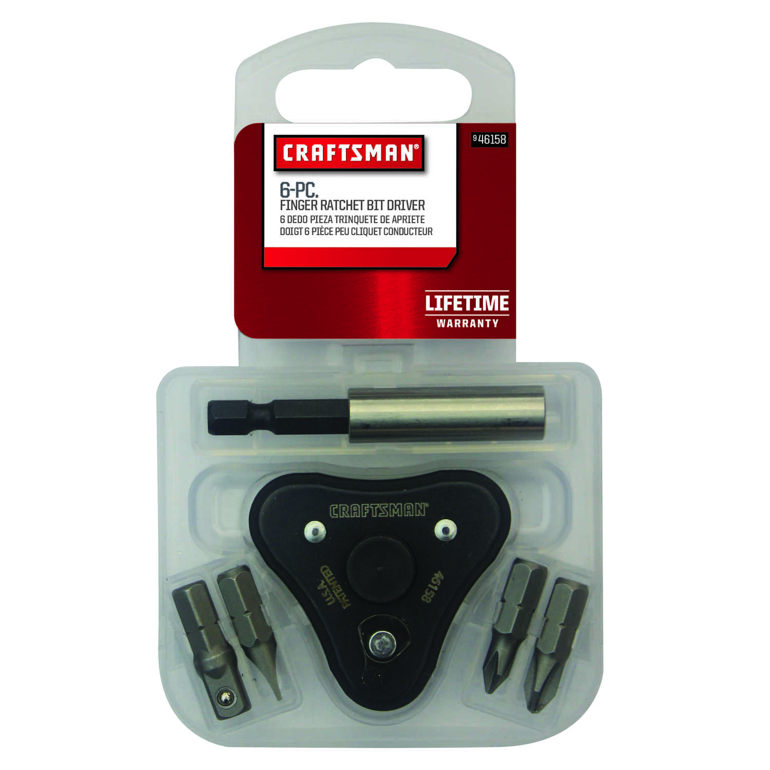 Craftsman  1 in. Ratcheting Finger  No. 1  Finger Bit Screwdriver  Steel  Black  1 pc.