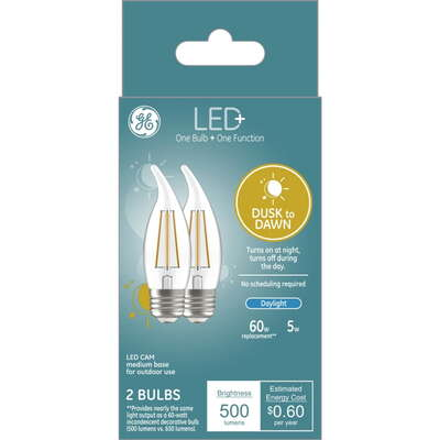 GE Lighting  LED+  CAM  E26 (Medium)  LED Dusk to Dawn Bulb  Daylight  60 Watt Equivalence 2 pk