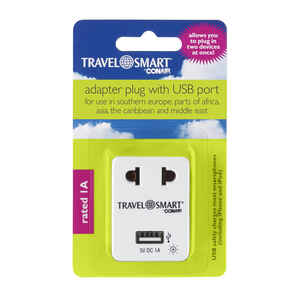 Travel Smart  For Worldwide Type A  Adapter Plug w/USB Port