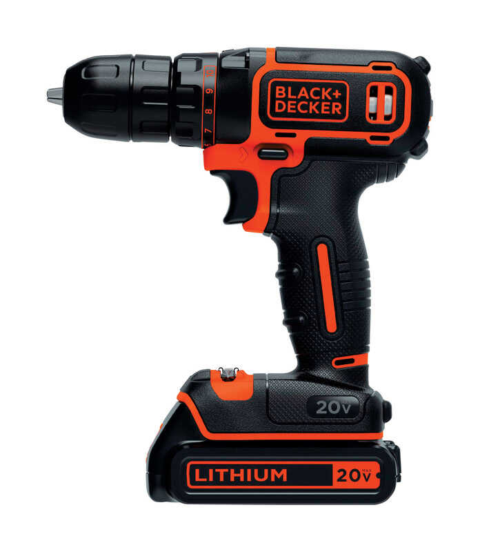 Black and Decker  20 volt 3/8 in. Cordless Compact Drill/Driver  Kit 650 rpm 1