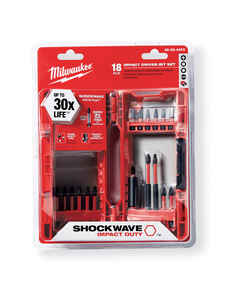 Milwaukee  SHOCKWAVE  Assorted  3 in. L Impact Driver Bit Set  Steel  Hex Shank  18 pc. 1/4 in. Impa