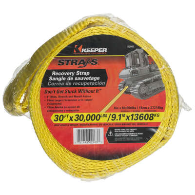 Keeper  6 in. W x 30 ft. L Yellow  Vehicle Recovery Strap  30000 lb. 1 pk