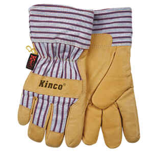 Kinco  Men's  Outdoor  Pigskin Leather  Knit Wrist  Work Gloves  Yellow  S  1 pair