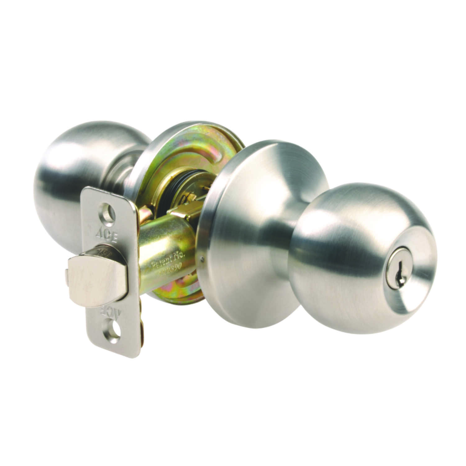 Ace  Ball  Satin  Stainless Steel  Entry Lockset  ANSI/BHMA Grade 3  1-3/4 in.