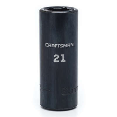 Craftsman  21 mm  x 1/2 in. drive  Metric  6 Point Deep  Impact Socket  1 pc.