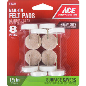 Ace  Felt/Metal/Plastic  1-1/8 in. Nail On  Chair Glide  8 pk