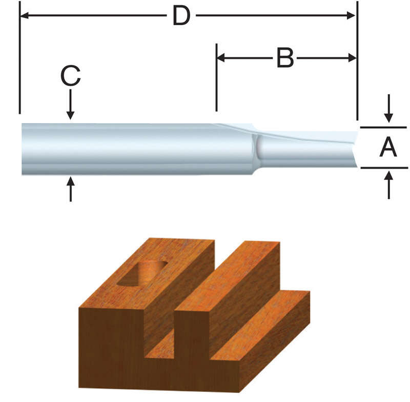 Vermont American 1/4 in. Dia. x 1/8 x 5/16 in. x 2 in. L Carbide Tipped 1-Flute Straight Router