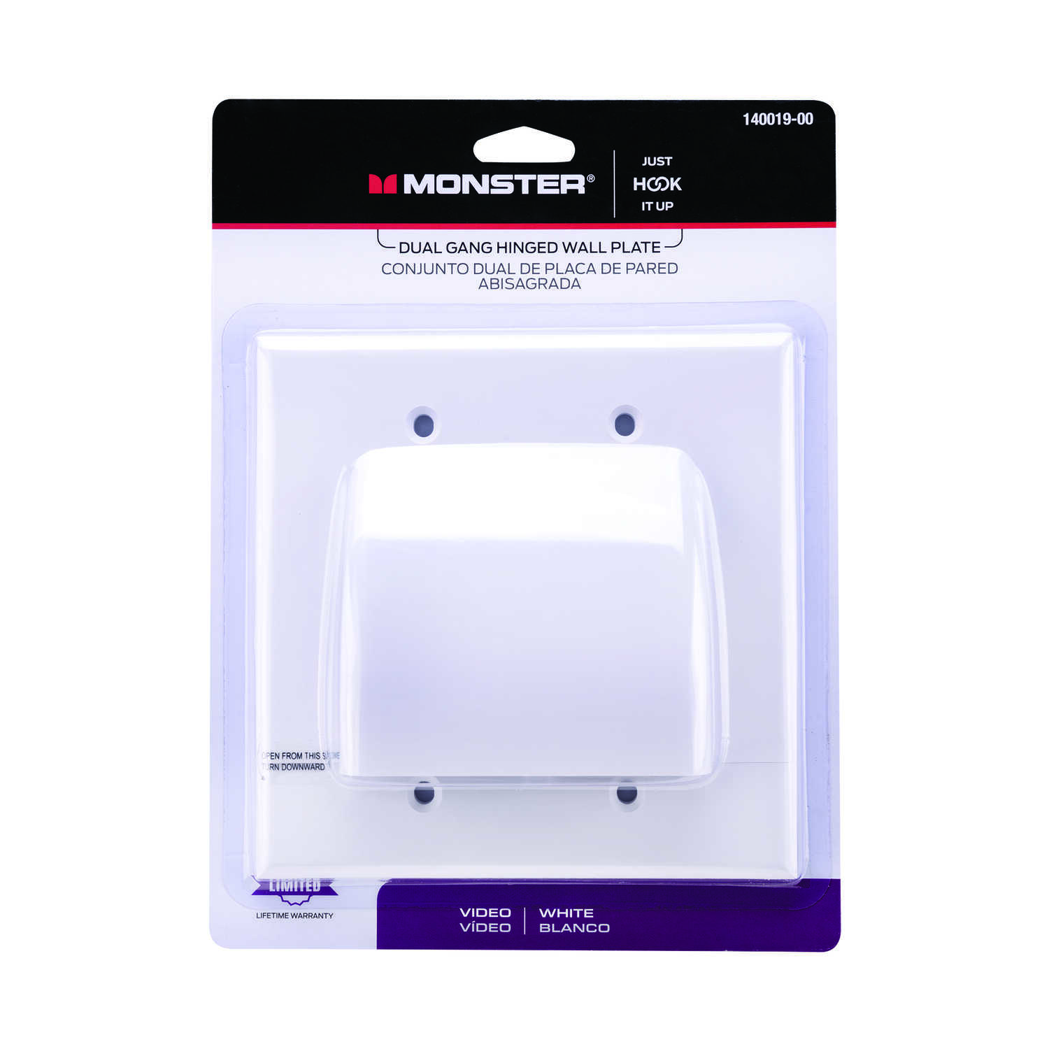 Monster Cable  Just Hook It Up  White  2 gang Cable/Telco  Wall Plate