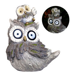 Alpine Polyresin Gray 15 in. H Owls Statue