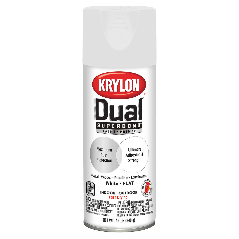 Krylon Dual Flat White Paint Primer Spray 12