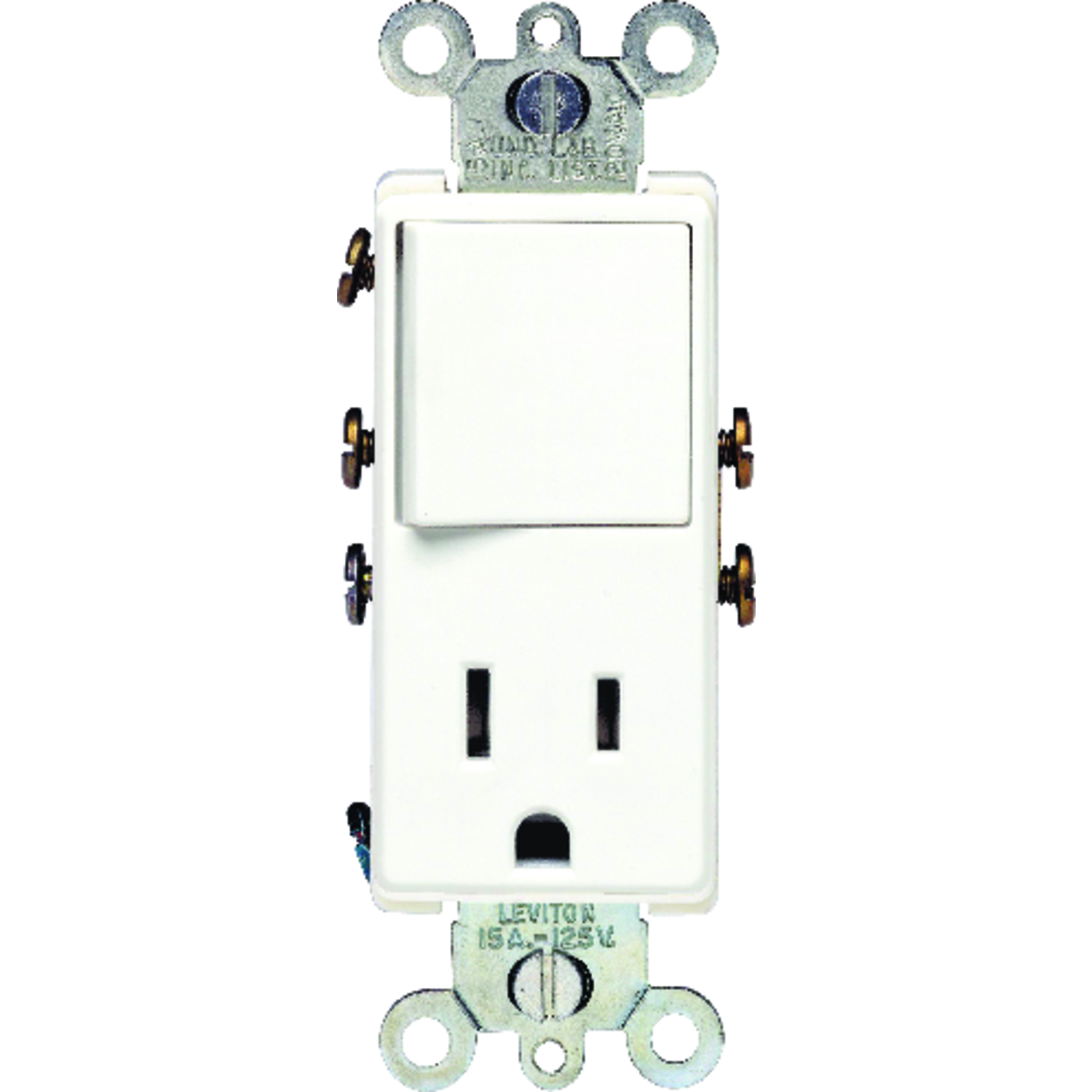 Leviton  Combination  White  Switch & Receptacle  1  15 amps