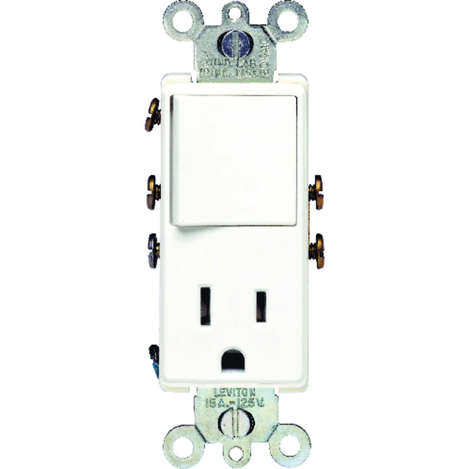 Leviton  15 amps Combination  Switch & Receptacle  1 pk White  15 amps