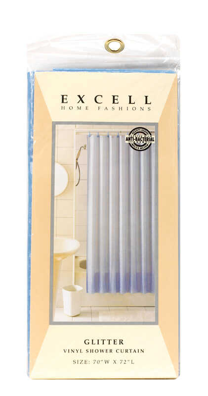 Excell  70 in. H x 72 in. W Glitter  Shower Curtain Liner  Light Blue