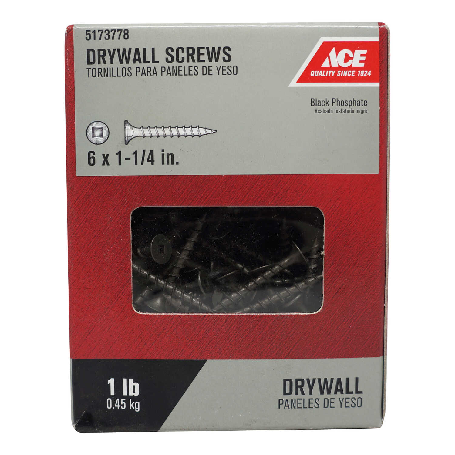 Ace  No. 6   x 1-1/4 in. L Square  Bugle Head Black Phosphate  Steel  Drywall Screws  1 lb. 283 pk
