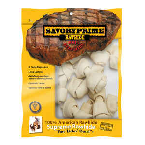 Savory Prime  Medium  Adult  Knotted Bone  Natural  3 in. L 10 pk
