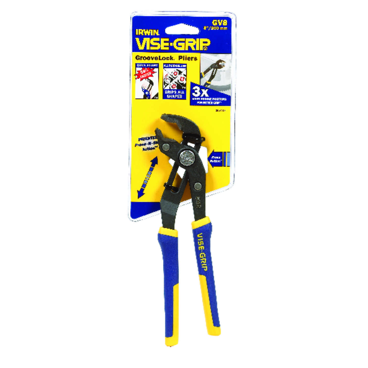 Irwin  Vise-Grip  8 in. Alloy Steel  Tongue and Groove Pliers  Blue/Yellow  1 pk