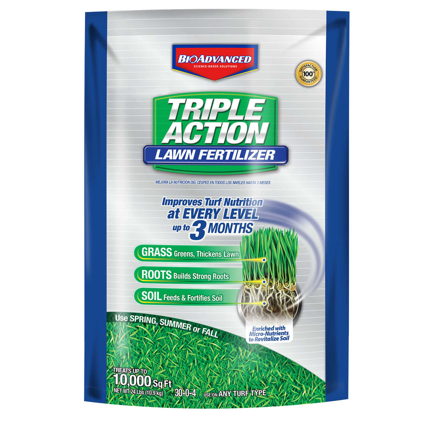 BioAdvanced  Triple Action  30-0-4  Lawn Fertilizer  For All Grass Types 24 lb.