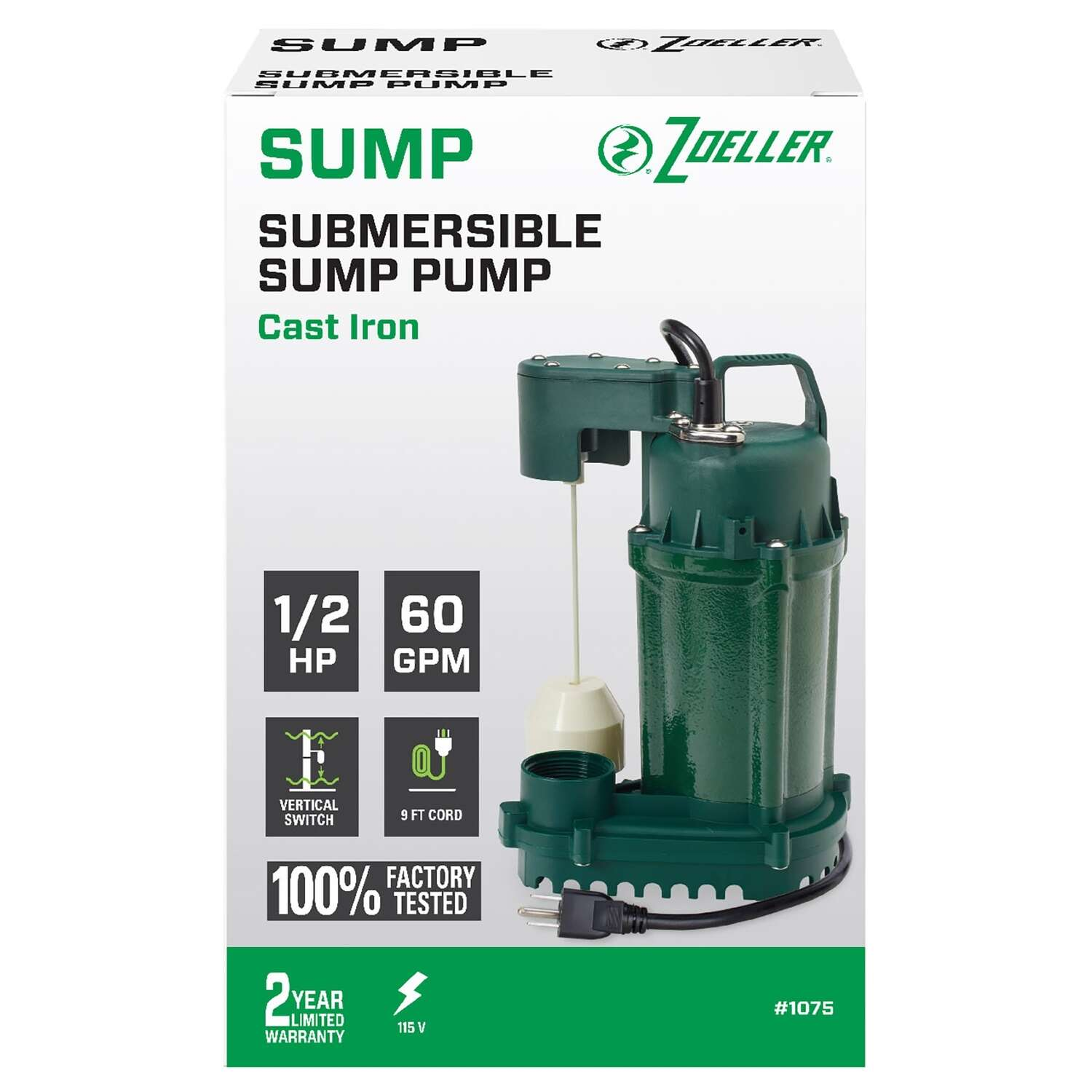 Zoeller  1/2 hp 60 gph Cast Iron  Vertical Float Switch  AC  Bottom Suction  Submersible Sump Pump