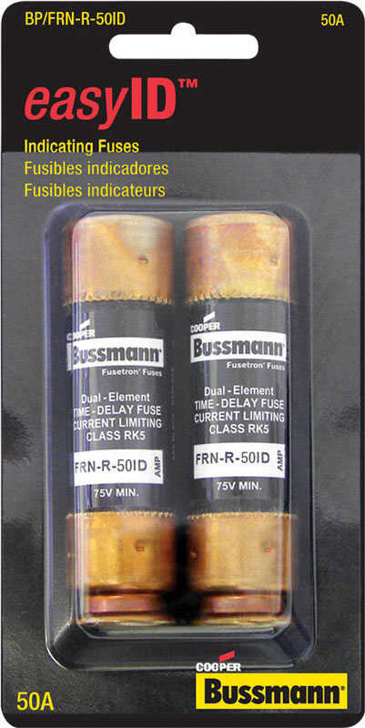 Bussmann  EasyID  50 amps Dual Element Time Delay Fuse  2 pk