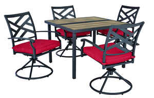 Living Accents  New Castle  5 pc. Black  Steel  Set  Red