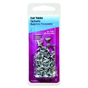 Hillman  No. 8   x 9/16 in. L Galvanized  Silver  Steel  Cut Tacks  1.75 pk