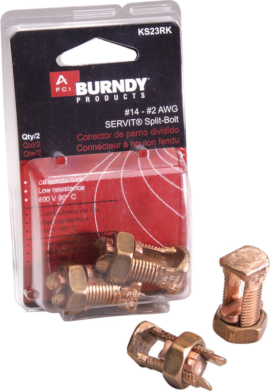 Burndy  Servit  Split Bolt  Split Bolt Connector  2 pk